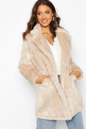 Oatmeal Tall Double Breasted Faux Fur Coat