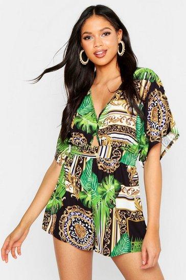 Green Tall Jungle Scarf Kimono Sleeve Playsuit