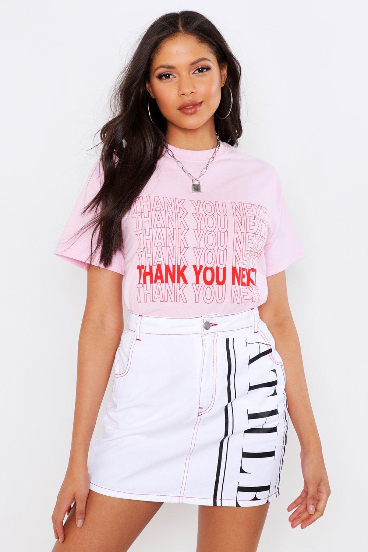 "Womens Tall T-Shirt mit dem Aufdruck ""Thank You Next"" - Pastellrosa - S, Pastellrosa - Boohoo.com"
