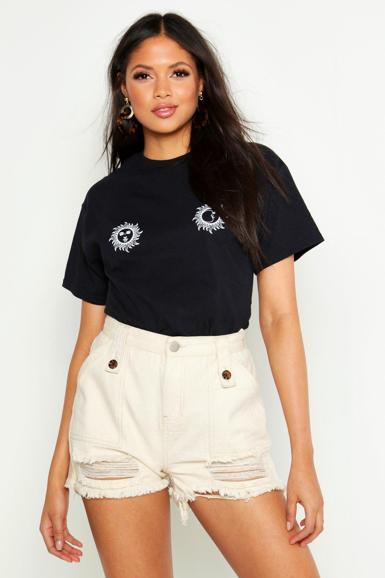 Womens Tall Placement T-Shirt mit Sonne- und Mond auf Horoskop - schwarz - S, Schwarz - Boohoo.com
