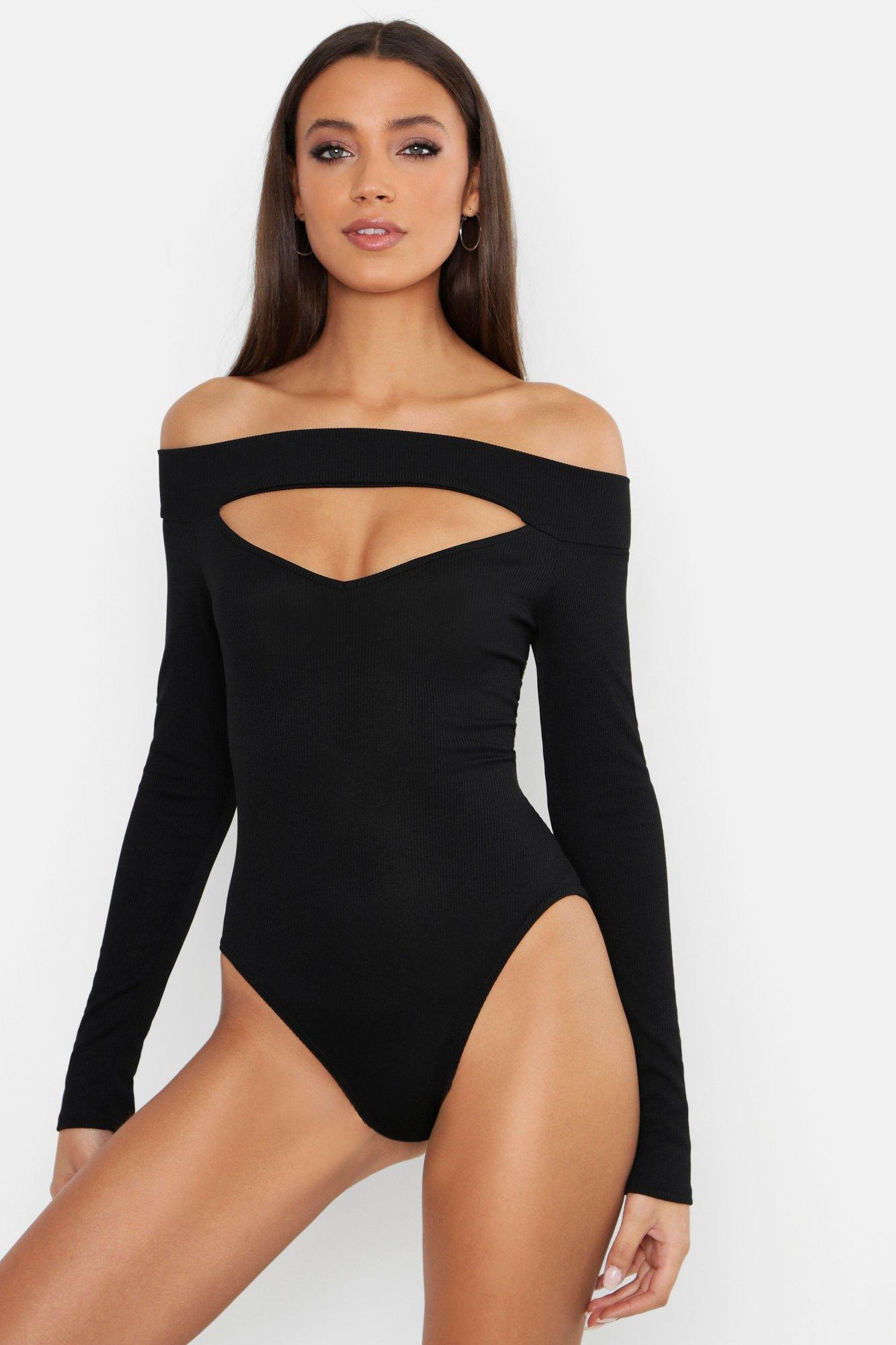 Womens Tall gerippter schulterfreier Body mit Cut-Out - schwarz - 34, Schwarz - Boohoo.com
