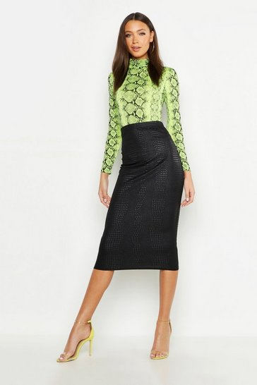 Black Tall Snake PU Embossed Midi Skirt