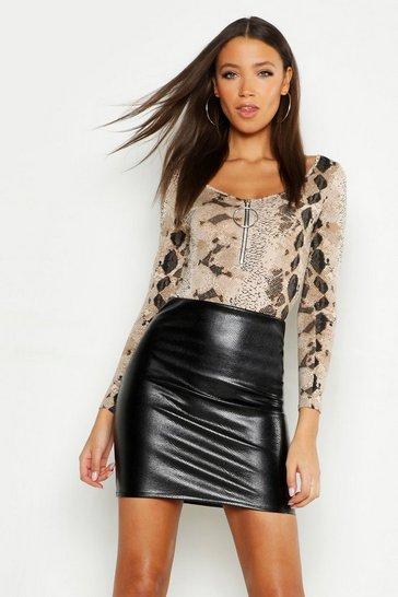 Black Tall Mock Croc PU Mini Skirt