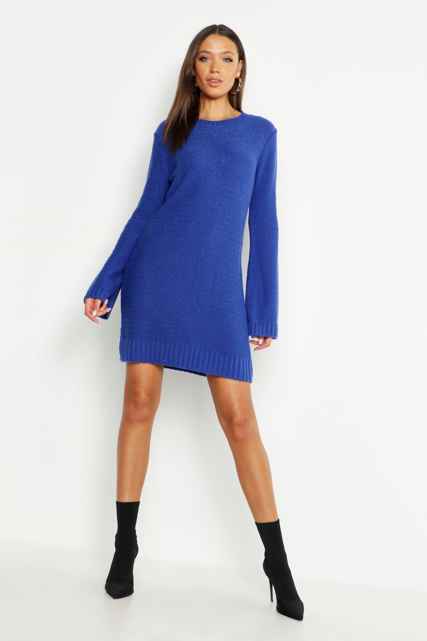 Womens Tall Wide Sleeve Jumper Dress - cobalt - L, Cobalt - Boohoo.com
