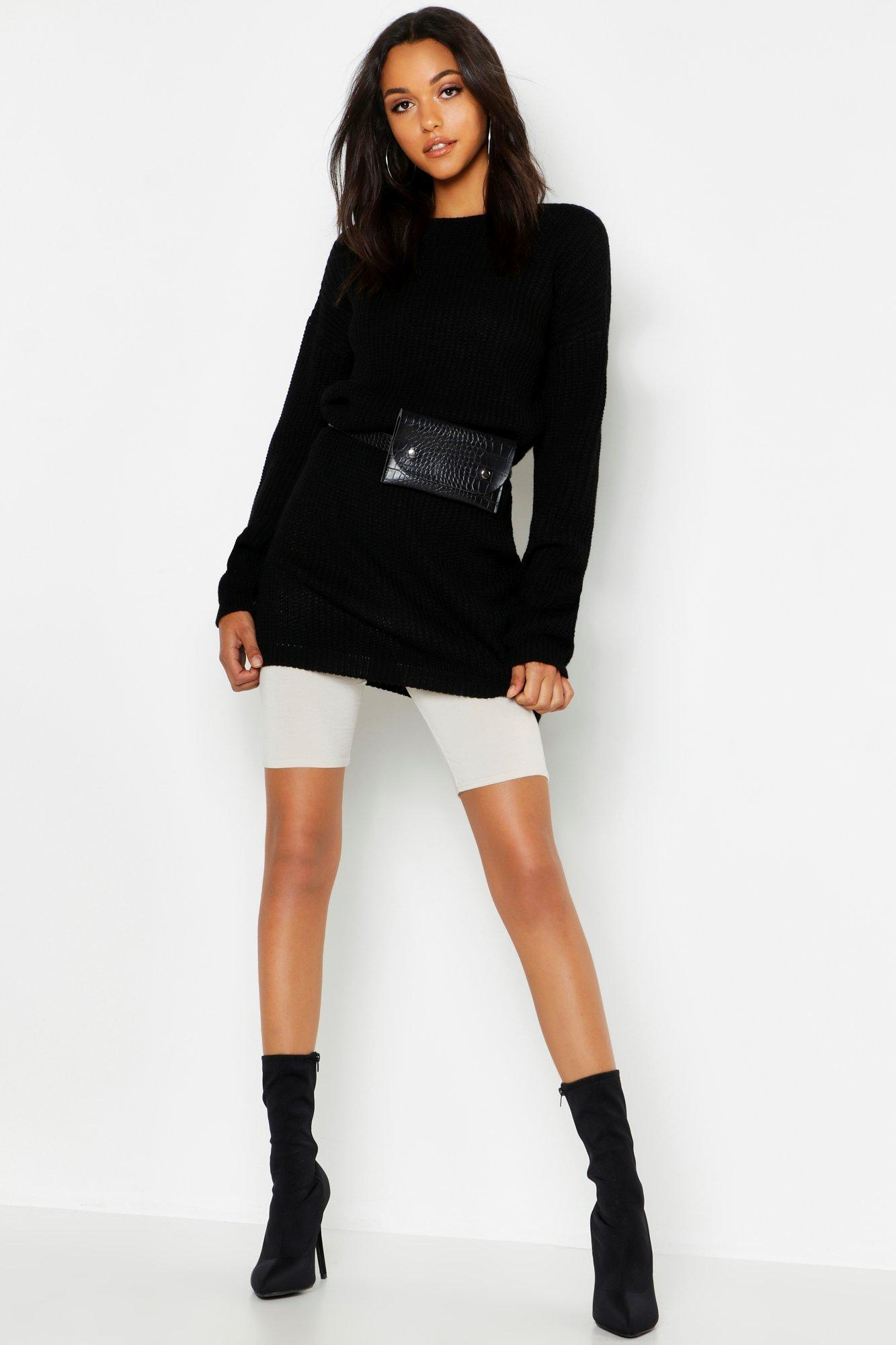 Womens Tall V Back Jumper Dress - black - L, Black - Boohoo.com
