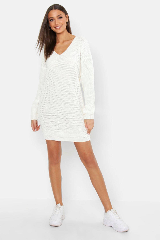 Womens Tall V Neck Jumper Dress - cream - M, Cream - Boohoo.com