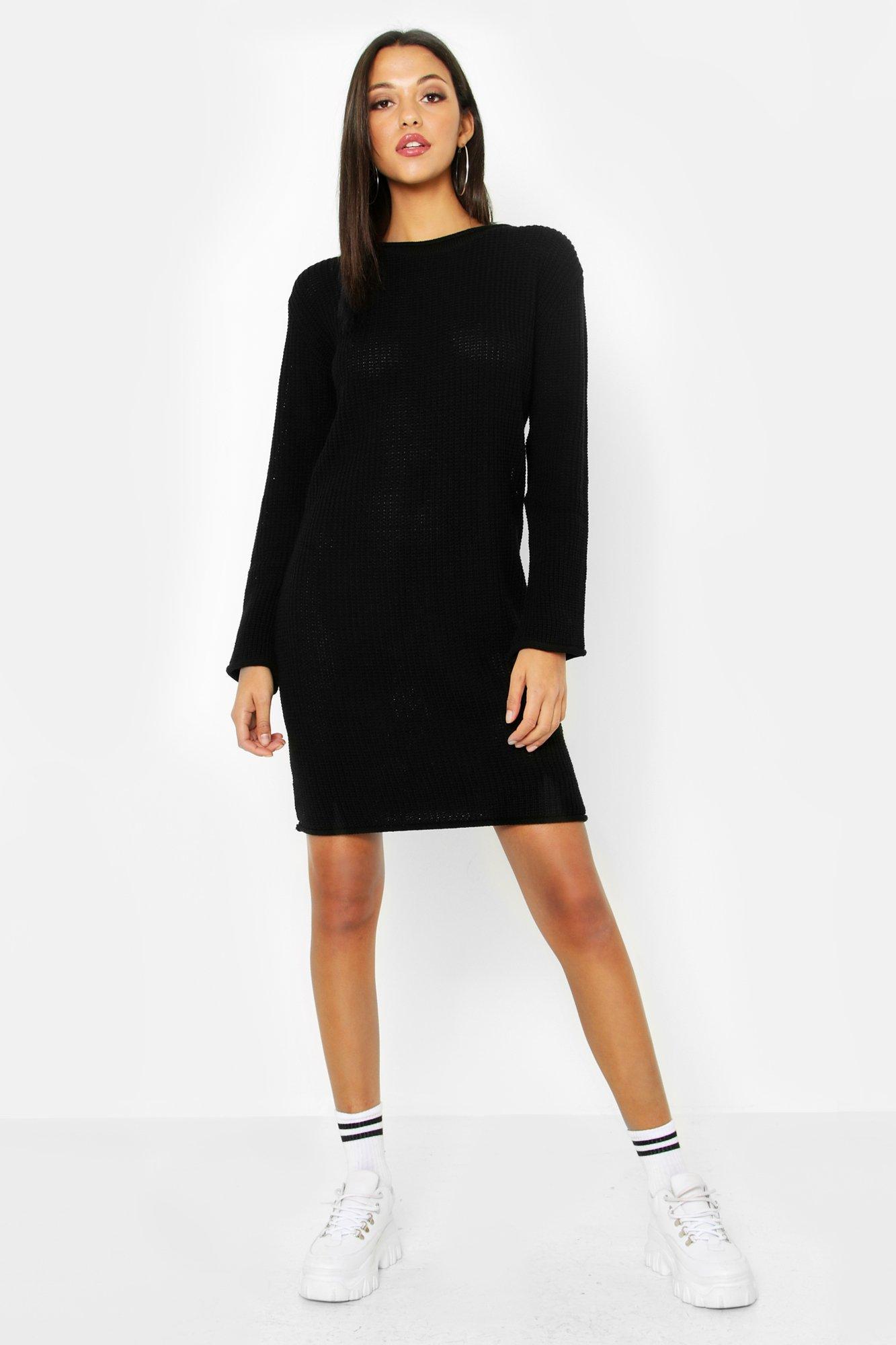 Купить Knitwear, Tall Roll Hem Jumper Dress, boohoo
