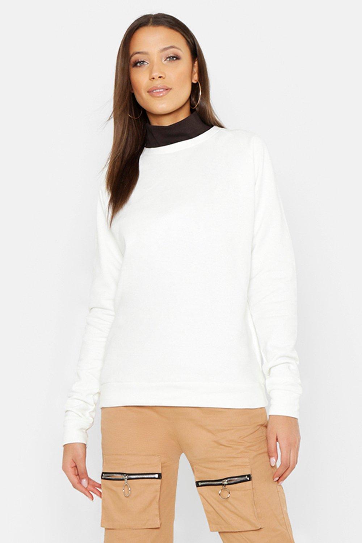 Womens Tall geripptes Sweatshirt Oversized mit Rollkragen - Naturfarben - L, Naturfarben - Boohoo.com