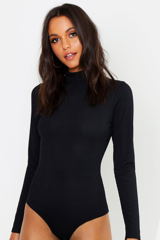 Womens Tall gerippter Bodysuit mit Rollkragen - schwarz - 42, Schwarz - Boohoo.com