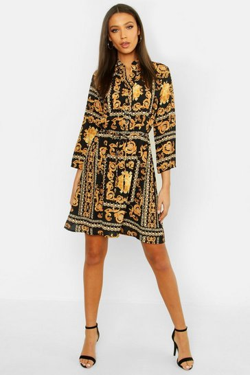 Black Tall Chain Print Shirt Dress