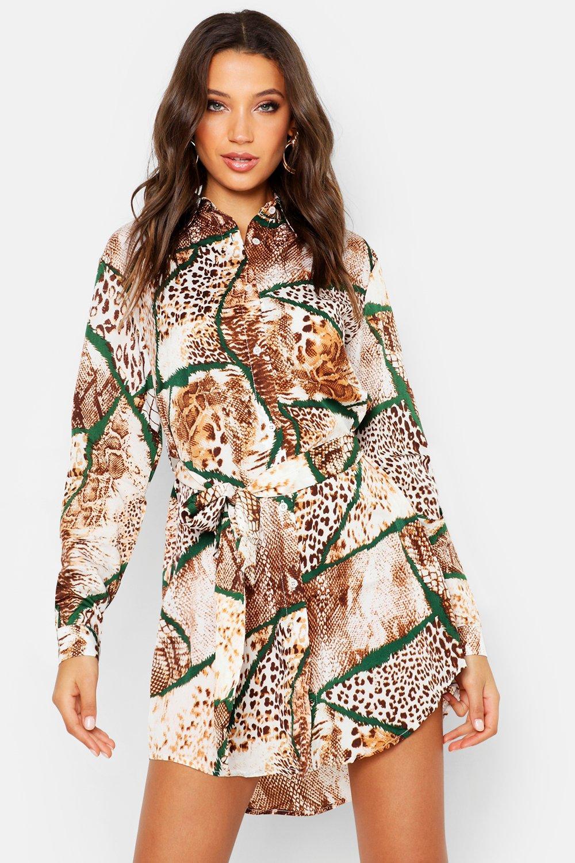 Womens Tall Blusenkleid mit verschiedenen Animal-Prints - kamelhaarfarben - 34, Kamelhaarfarben - Boohoo.com
