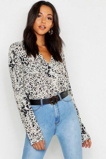 Stone Tall Leopard Print Utility Shirt