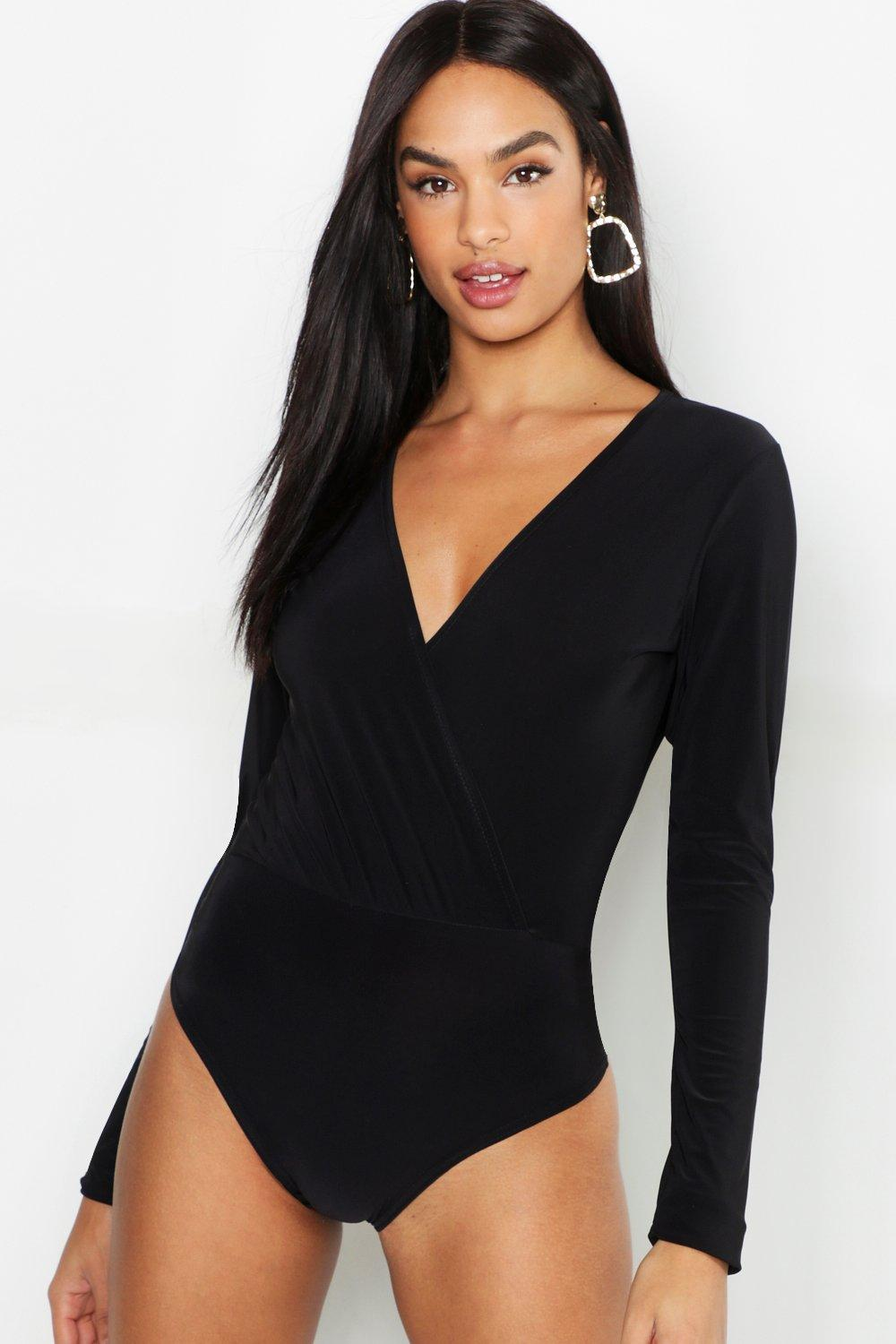 Womens Tall Slinky Wrap Bodysuit - black - 34, Black - Boohoo.com