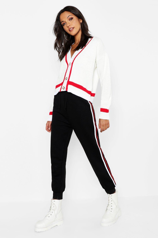 """Womens Tall Kurzer Cardigan Sports mit """"Mock Horn""""-Print - Weiß - L, Weiß - Boohoo.com"""