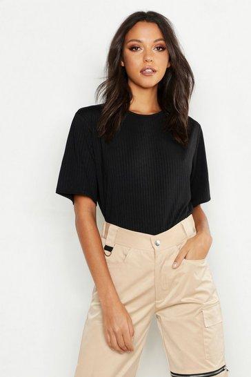 Black Tall Neon Rib Oversized T-Shirt