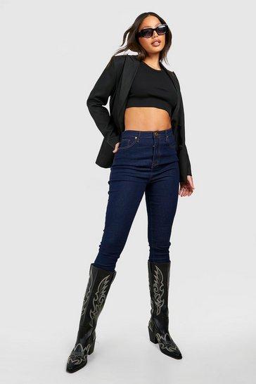 """Dark blue Tall High Waist Skinny Jean 35"""""""" Leg"""