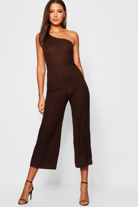 Купить Jumpsuits, Tall - с открытым плечом Комбинезон с широкими штанинами из ткани в рубчик, boohoo