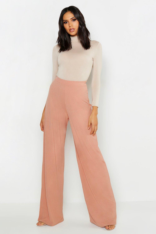 Купить Trousers, Tall - Широкие брюки из ткани в крупный рубчик Legged, boohoo