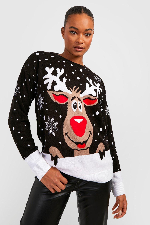 Womens Tall Rentier Weihnachts-Pullover - schwarz - S/M, Schwarz - Boohoo.com