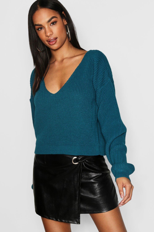 Womens Tall kurzer Fischer-Pullover mit V-Ausschnitt - Jadegrün - XL, Jadegrün - Boohoo.com