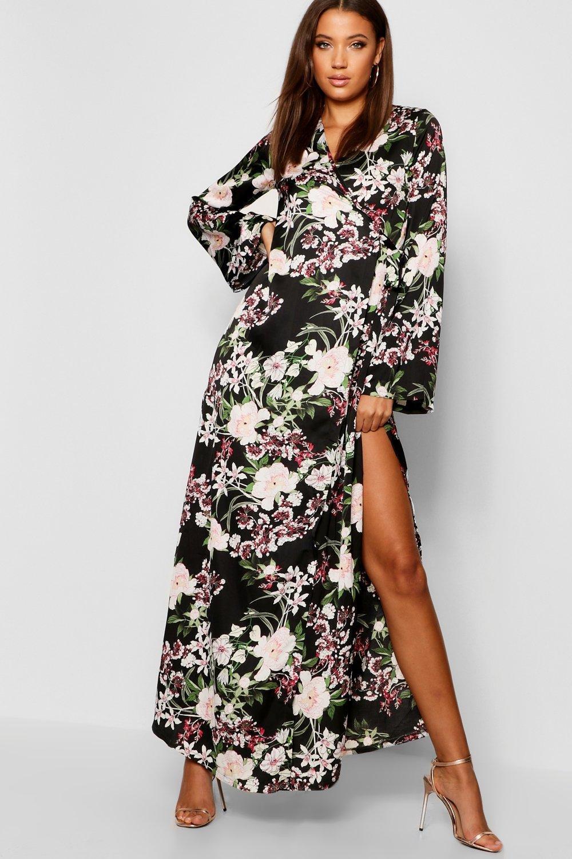 Купить Dresses, Tall - с цветочным рисунком Макси-платье в стиле кимоно с запахом и поясом, boohoo