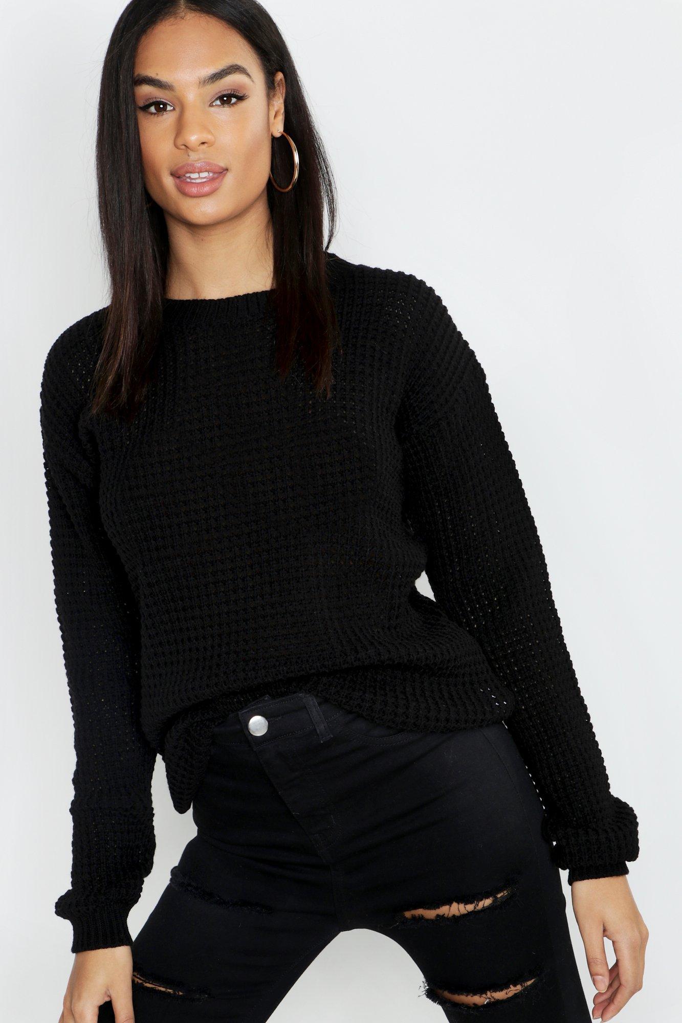 Womens Tall Pullover aus Strick mit Waffelmuster - schwarz - S, Schwarz - Boohoo.com