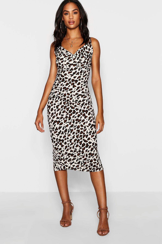 Купить К нам поступают платья, Tall - с леопардовым принтом Миди-платье с воротником-хомутом, boohoo