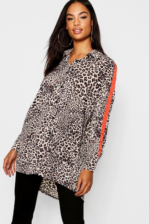 Womens Tall Übergroßes Hemd mit Animal-Print und seitlichem Streifen - Braun - 34, Braun - Boohoo.com