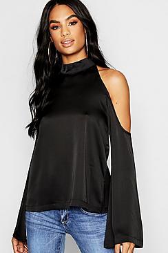 Tall Bluse mit ausgeschnittenen Schultern aus gehämmertem Satin - Boohoo.com