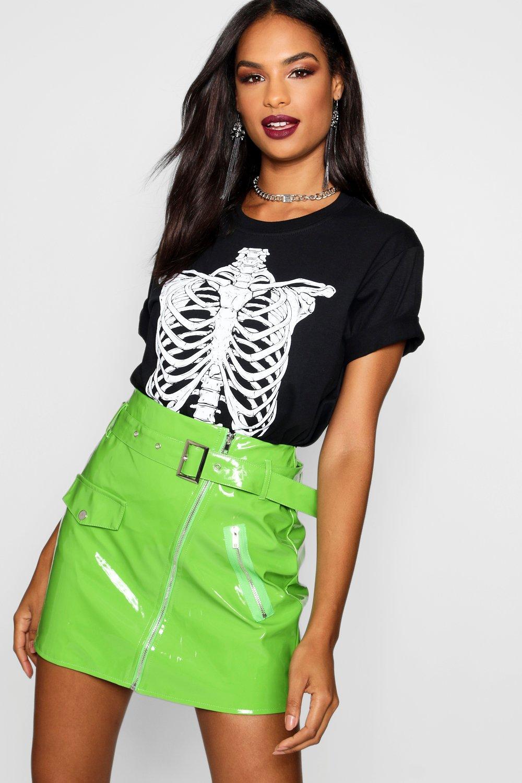 Womens Tall Skeleton Rib Cage Halloween T-Shirt - black - S, Black - Boohoo.com