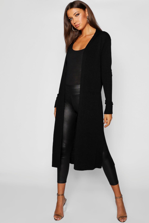 Womens Langer Maxi-Cardigan mit seitlichem Schlitz - black - S/M, Black - Boohoo.com
