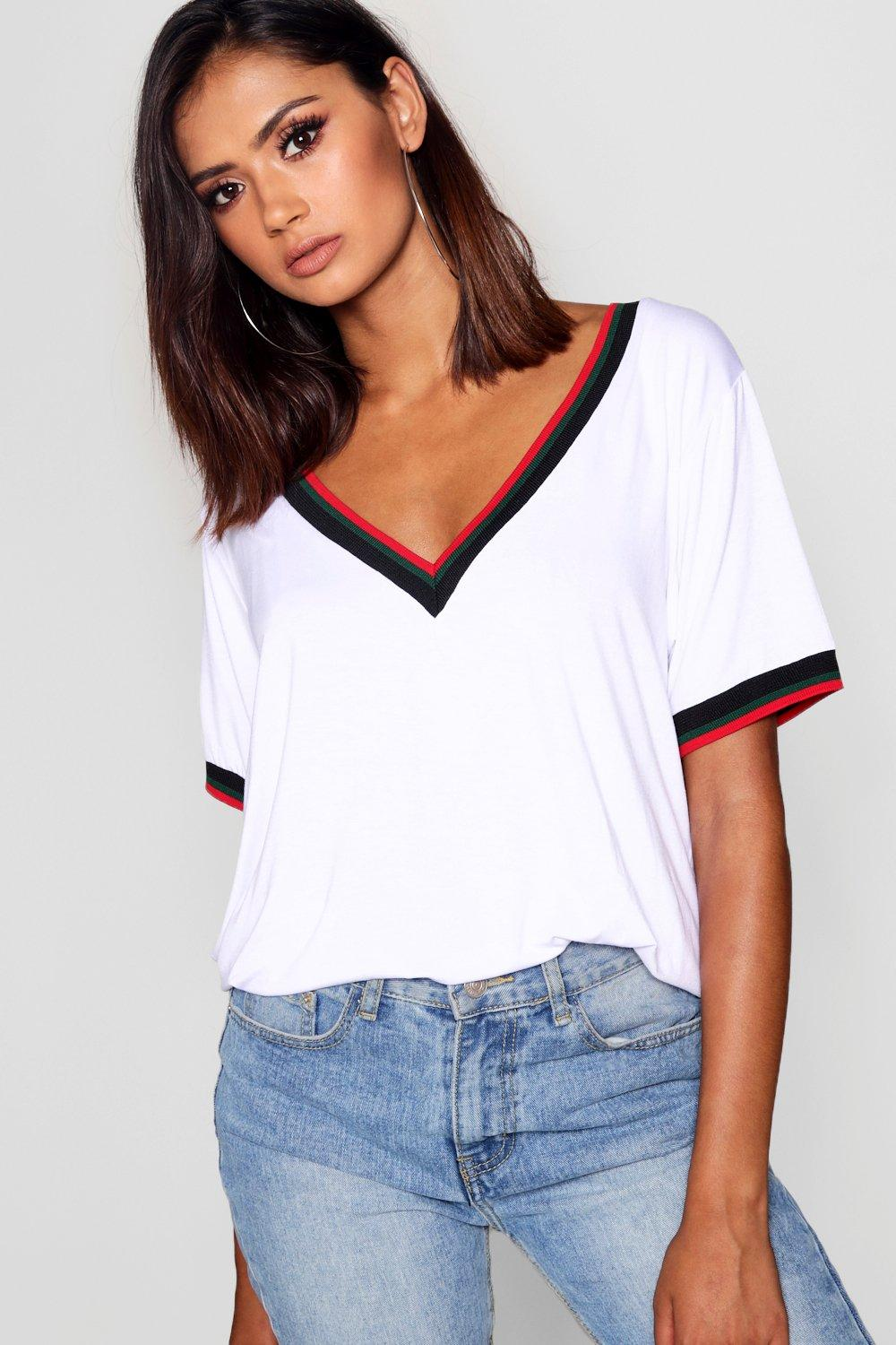 Womens Tall Sport Tape Tee - white - 42, White - Boohoo.com