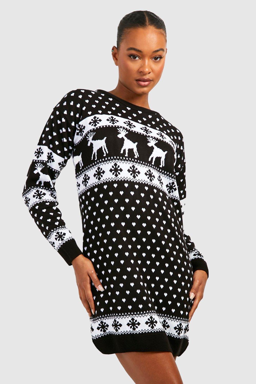Womens Tall Pullover mit Schneemann und Rentieren für Weihnachten - schwarz - S/M, Schwarz - Boohoo.com