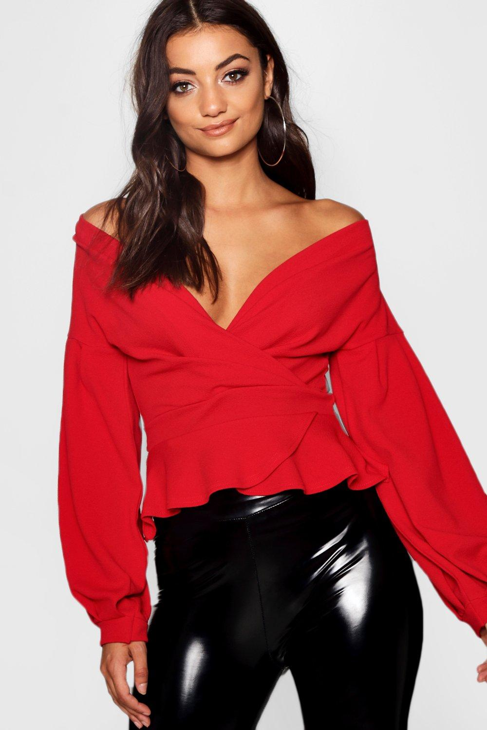 Womens Tall Off-Shoulder Wickelbluse mit Ballonärmeln - rot - 40, Rot - Boohoo.com