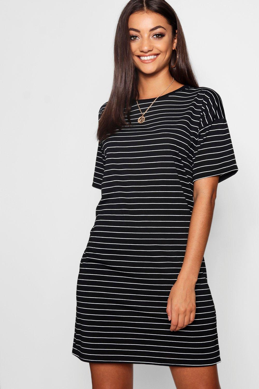 Womens Tall gestricktes T-Shirt Kleider mit Streifen - schwarz - 34, Schwarz - Boohoo.com