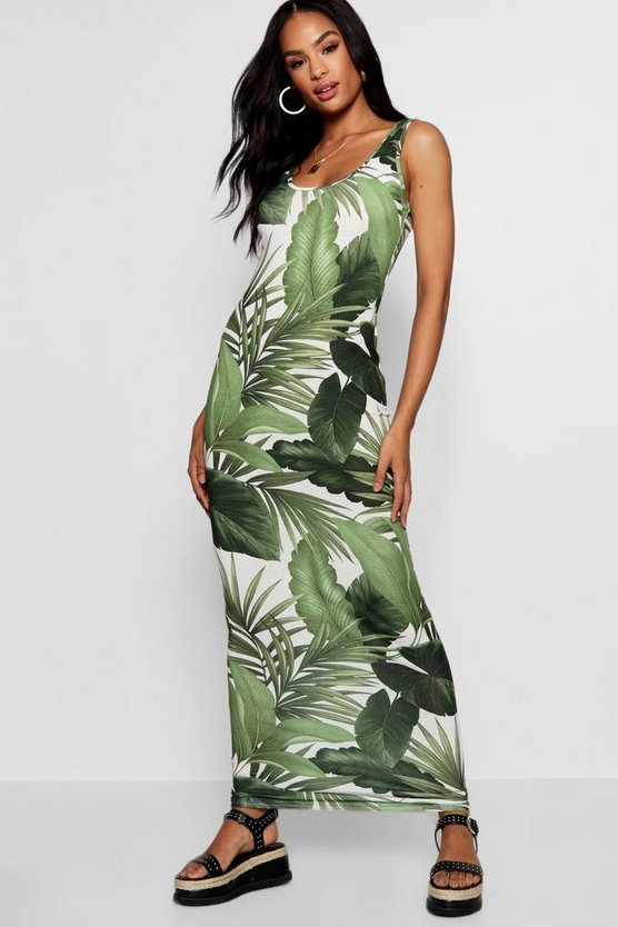 Tall Caroline Palm Print Maxi Dress