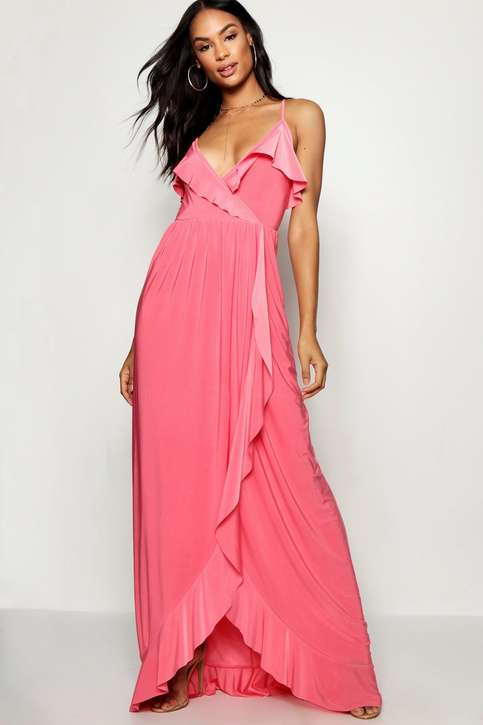 Boohoo Tall Slinky Ruffle Maxi Dress Collections Outlet Sast Cheap ...