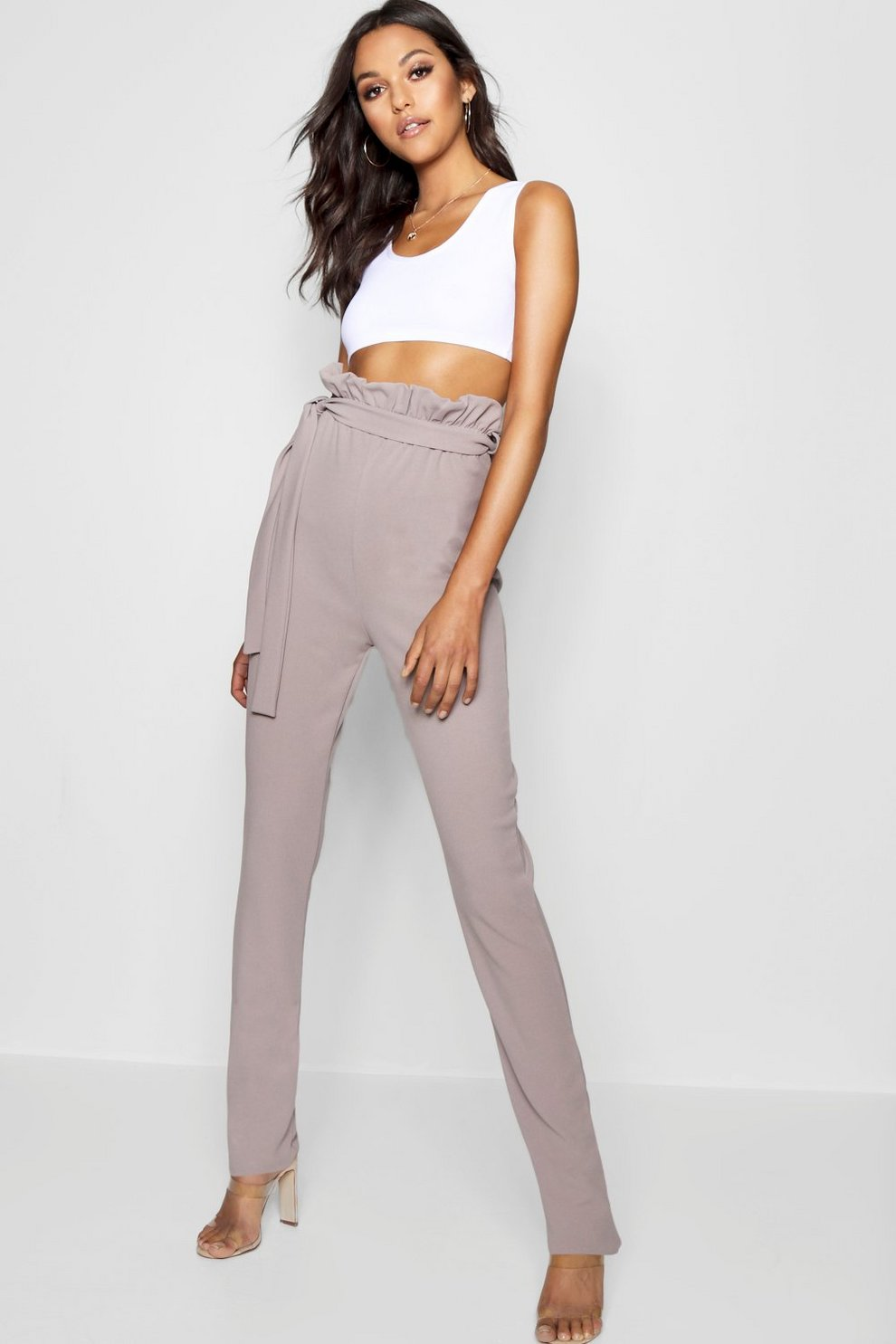 Boohoo Tall Belted Skinny Trousers Free Shipping Collections VBFnLBu