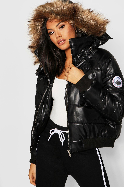 Купить Coats & Jackets, Пуховик с отделкой из искусственного меха из коллекции <Tall>, boohoo
