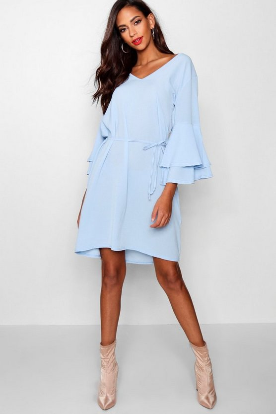 Tall Lacey Flute Sleeve Tie Waist Dress