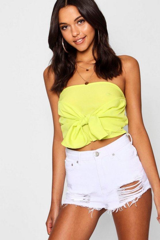 Tall Tie Front Bandeau Crop