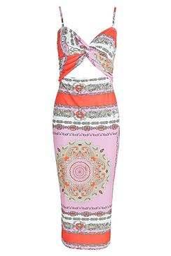 Tall Indi Scarf Print Wrap Cut Out Thigh Split Midi Dress