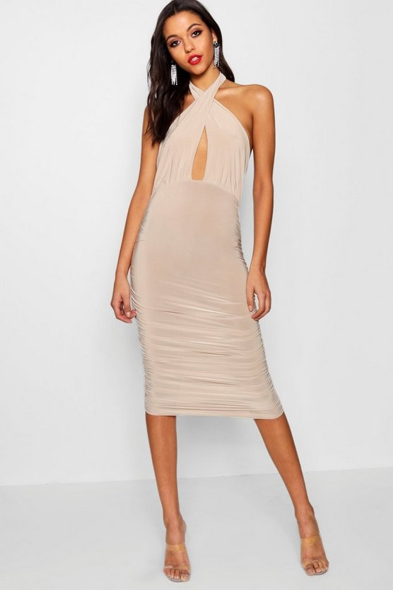 Tall Paige Cross Front Ruched Midi Dress