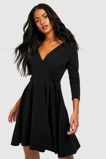 Black Tall  Wrap & Skater Dress