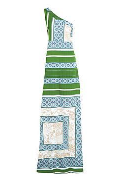 Tall Eleanor One Shoulder Scarf Print Maxi Dress