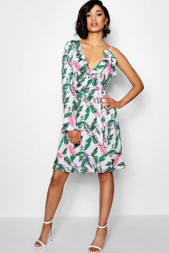 Tall One Shoulder Ruffle Palm Print Dress