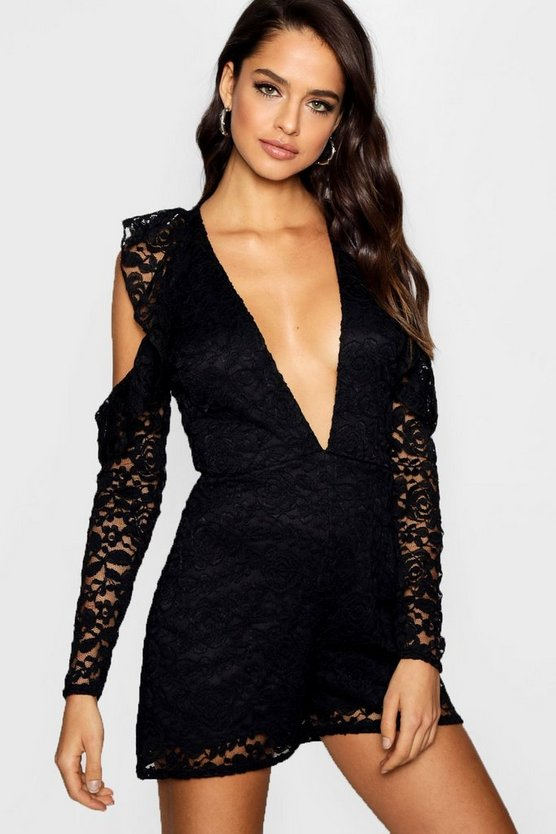Tall Plunge Ruffle Lace Playsuit