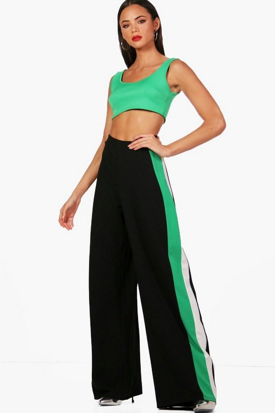 Tall Ava Stripe Wide Leg Crepe Trousers