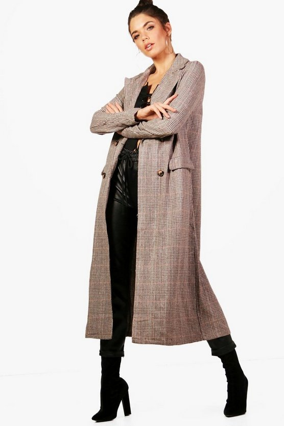 Tall Check Wool Look Coat