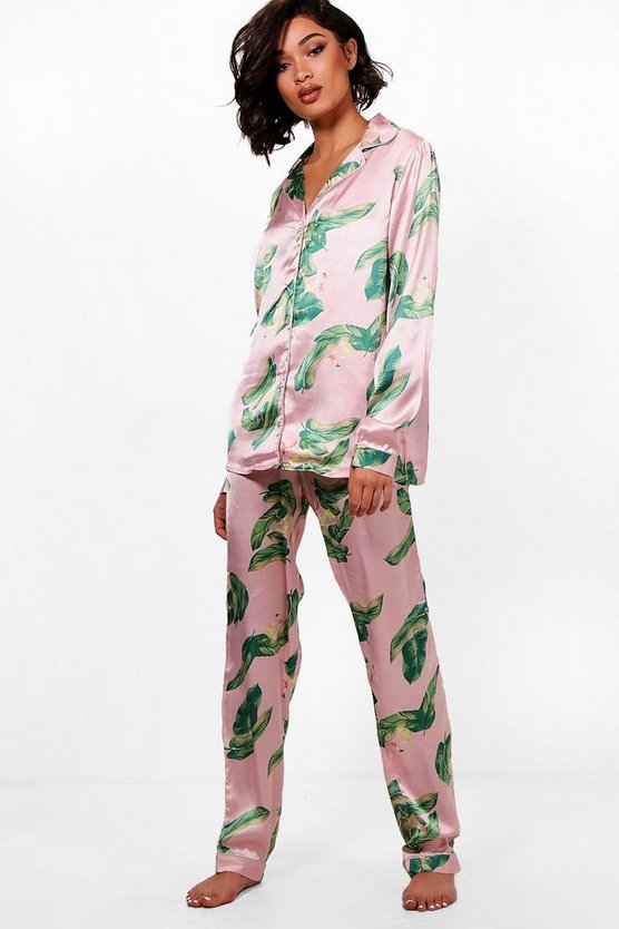 Tall Lila Flamingo Print Satin Pyjama Set